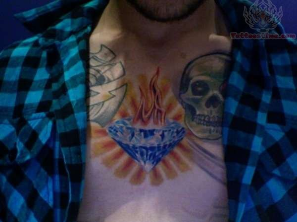Flaming Diamond Chest Piece Tattoo