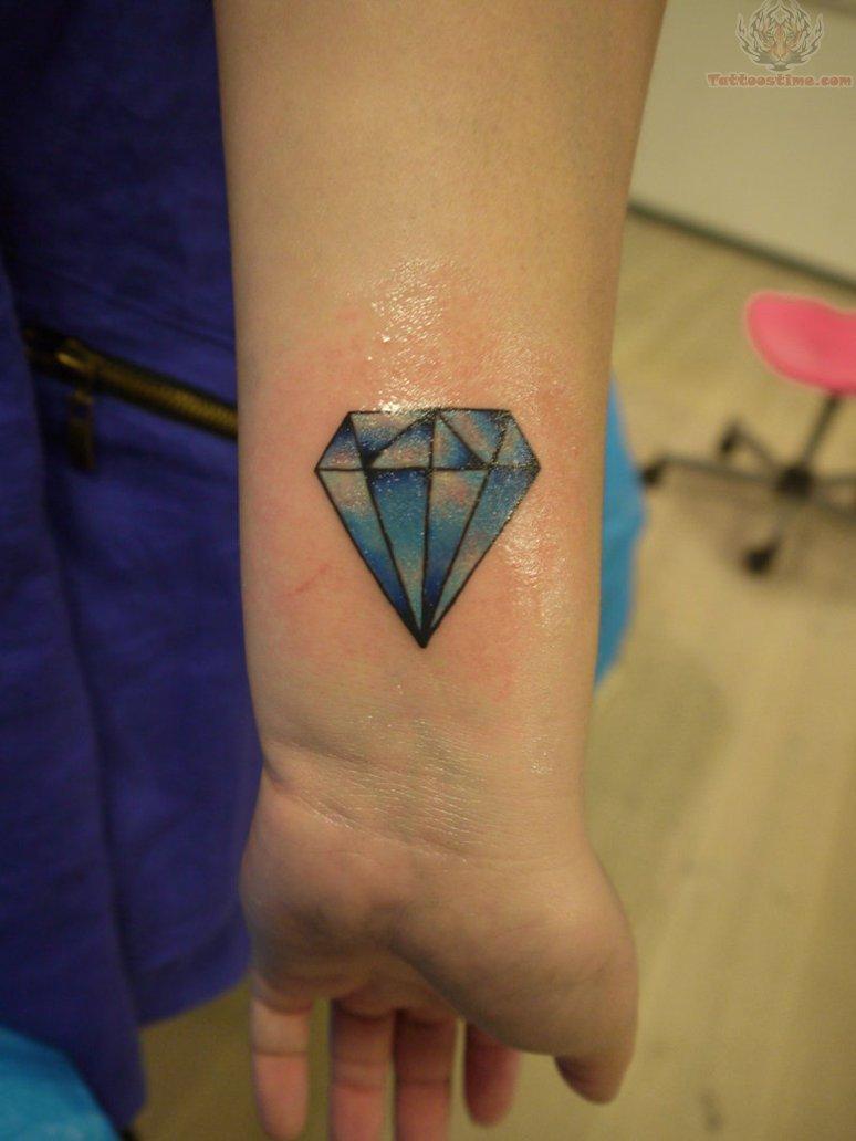 old school blue diamond tattoo on wrist