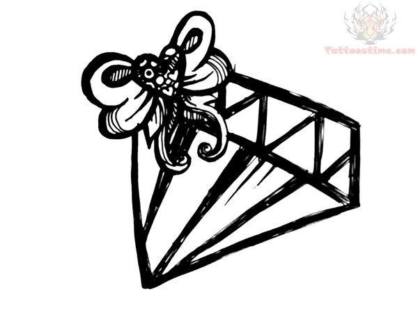 Line Art Tattoo Designs : Outline diamond tattoo design