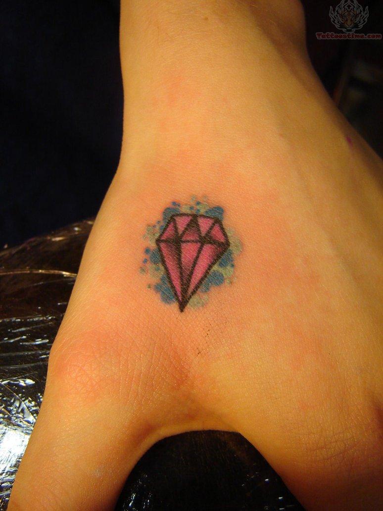 Pink Diamond Tattoo On Hand