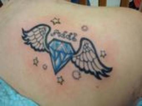 winged blue diamond tattoo. Black Bedroom Furniture Sets. Home Design Ideas