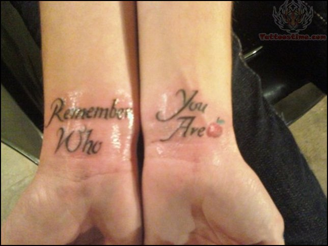 Small Apple Tattoo With Rememberence