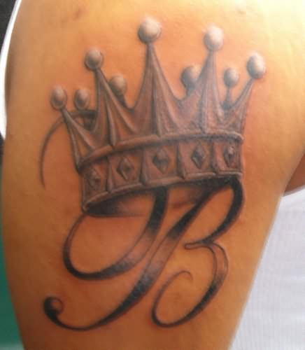 B with Crown Tattoo