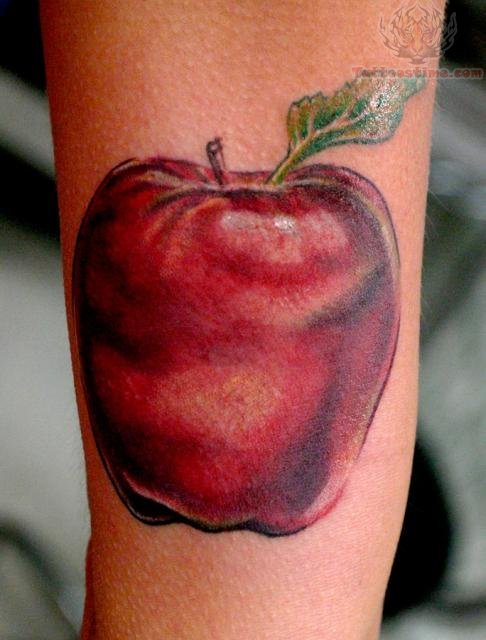 fruit apple tattoo. Black Bedroom Furniture Sets. Home Design Ideas