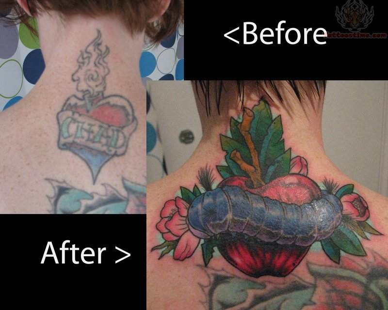 name banner and apple tattoo