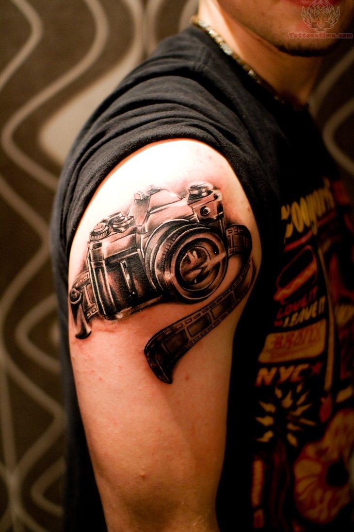 Camera Film And Flower Tattoo
