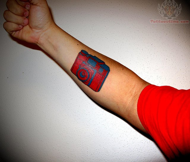 Camera tattoo images designs for Red ink tattoos