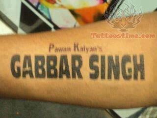 Gabbar Singh Tattoo On Arm