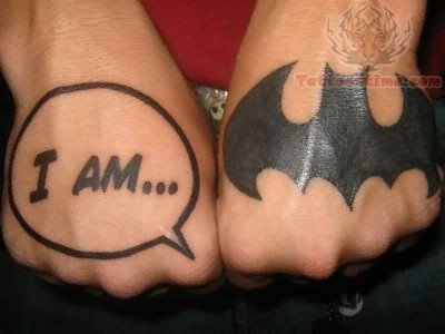 Bat Man Circle Tattoo On Hand