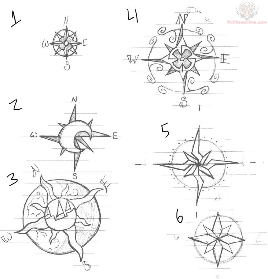 Compass Tattoo Drawing