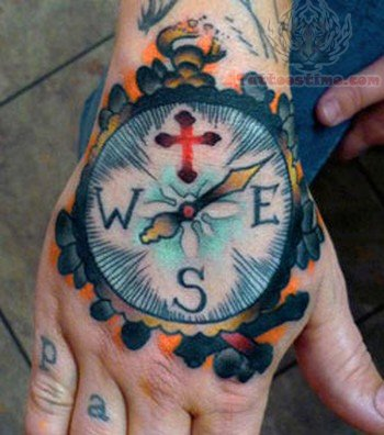 Large Compass Tattoo On Hand