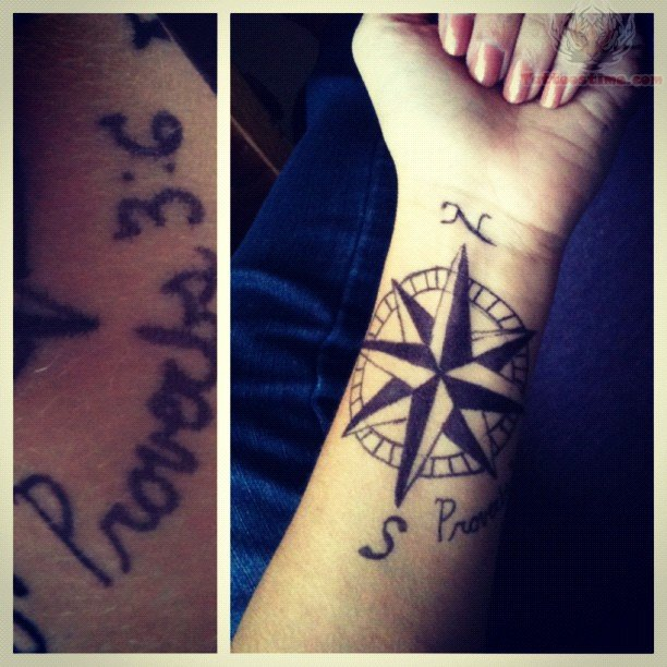 Nautical compass tattoo on wrist for Nautical compass tattoo