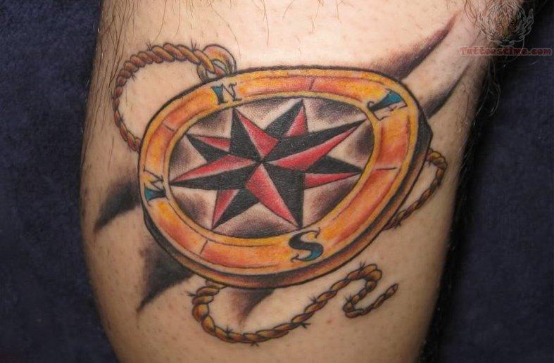 Nautical compass tattoo with chain for Nautical compass tattoo