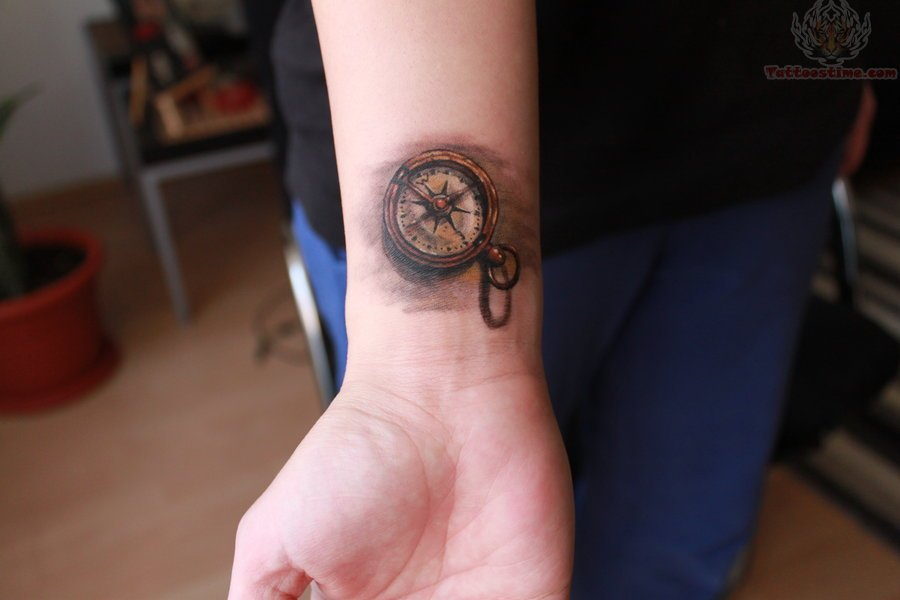 small compass tattoo on wrist. Black Bedroom Furniture Sets. Home Design Ideas
