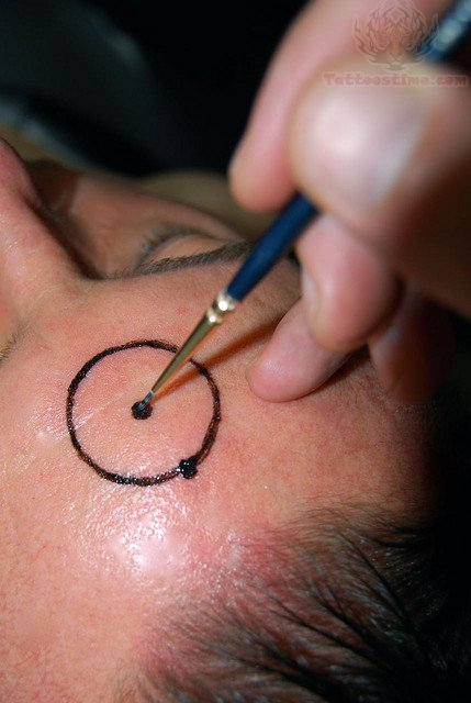 Circle - Forehead Tattoo