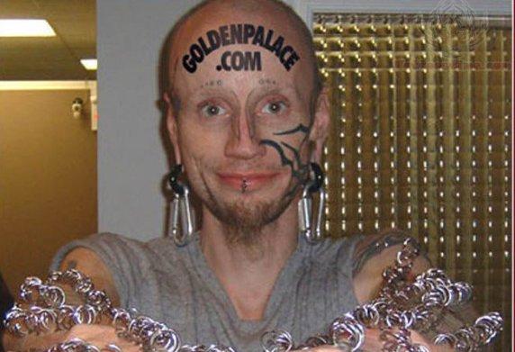 GoldenPalace.com Tattoo On Forehead