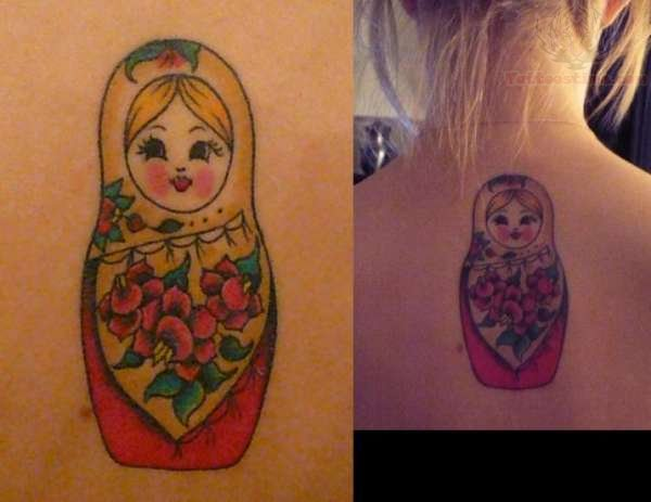 matryoshka doll tattoo on upper back. Black Bedroom Furniture Sets. Home Design Ideas
