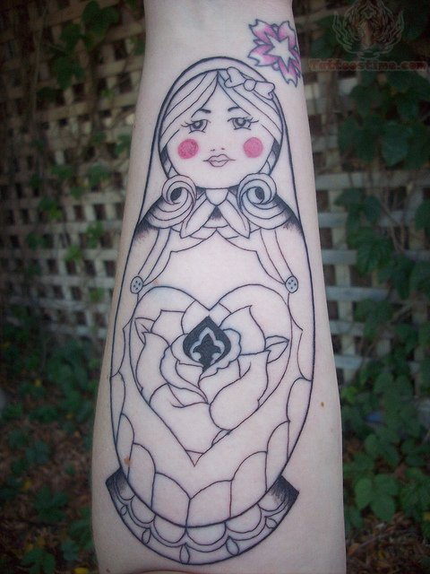 Star Flower And Matryoshka Tattoo Outline