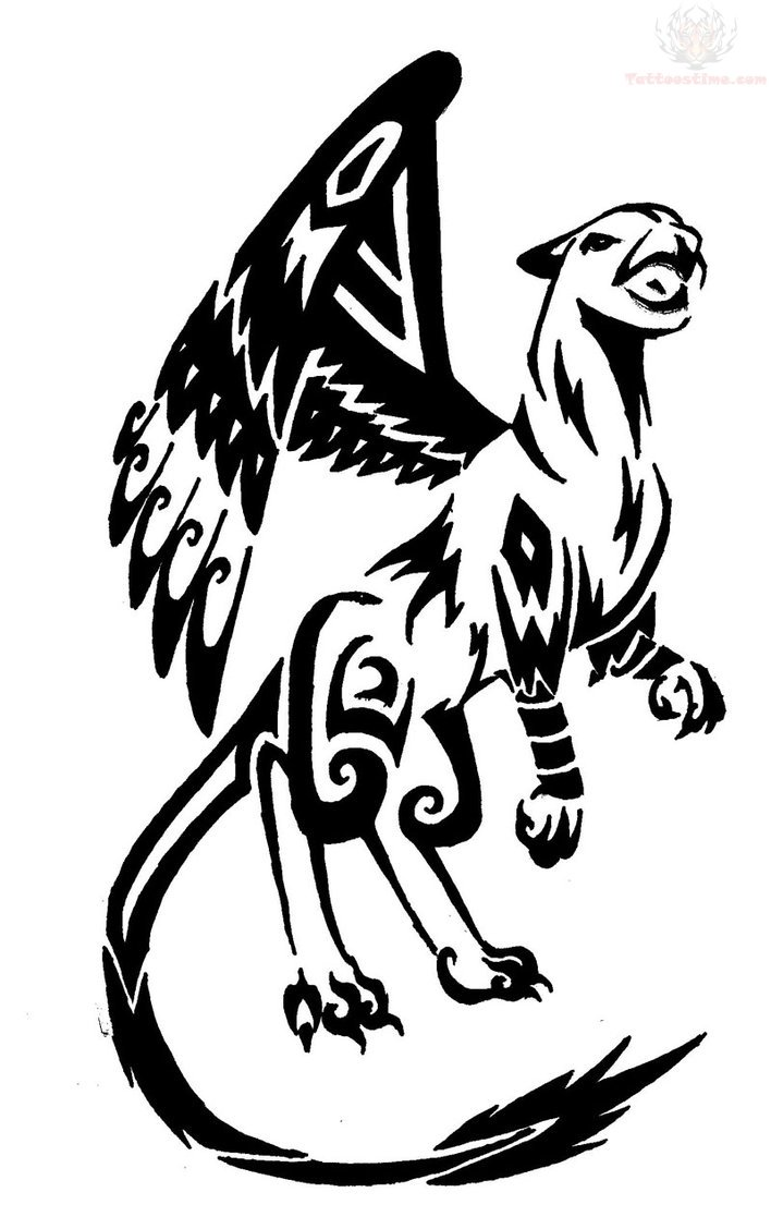 Black Griffin Tribal Tattoo Design