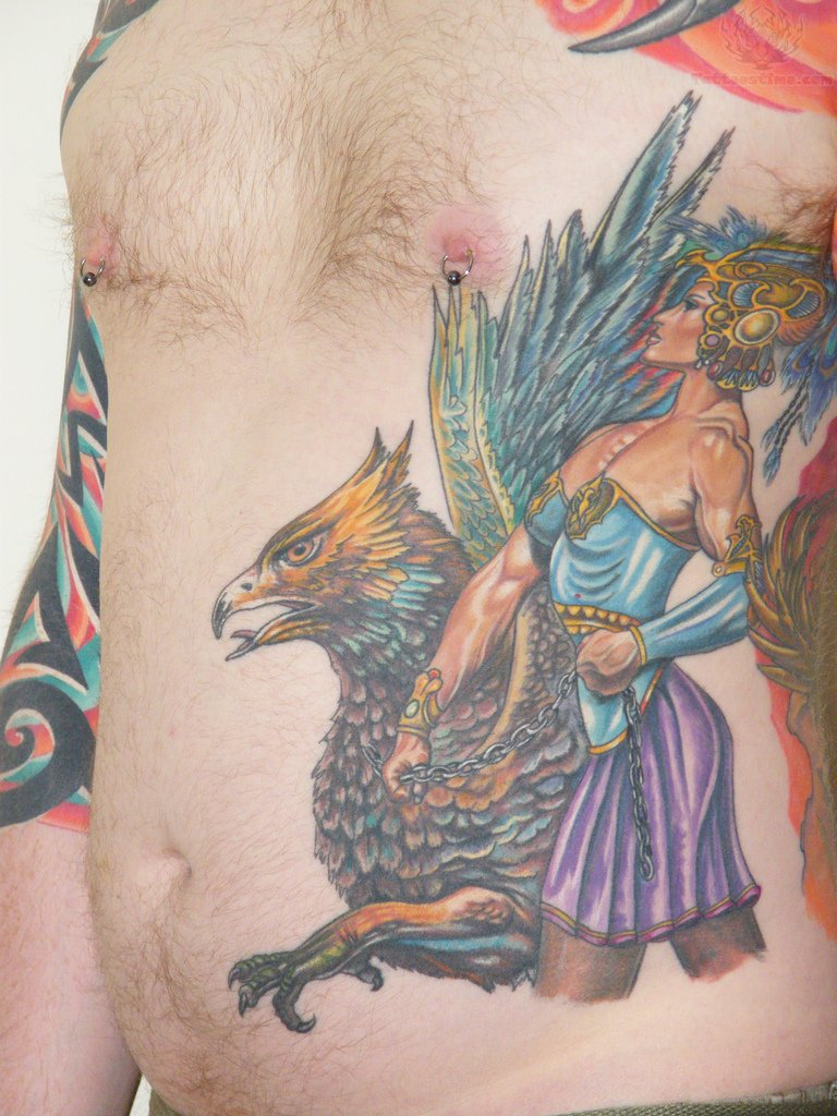 Colorful Griffin Tattoo On Side Rib