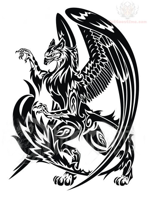 large winged griffin tattoo design. Black Bedroom Furniture Sets. Home Design Ideas