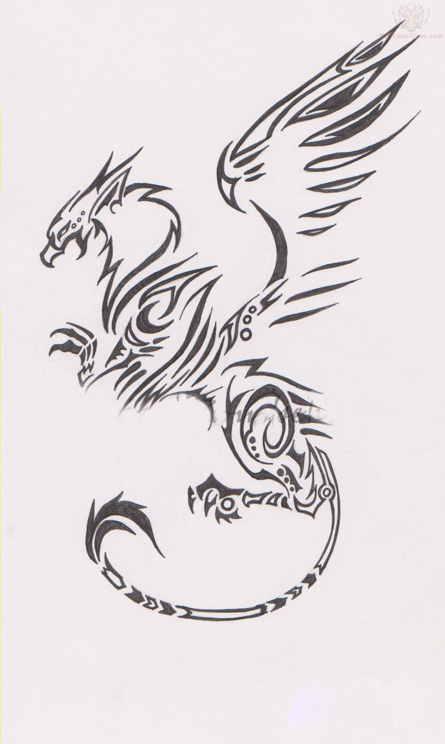 Tribal Griffin Tattoo Design