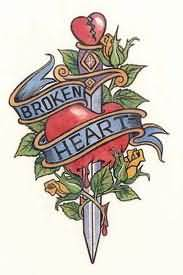 Broken Heart Dagger Tattoo