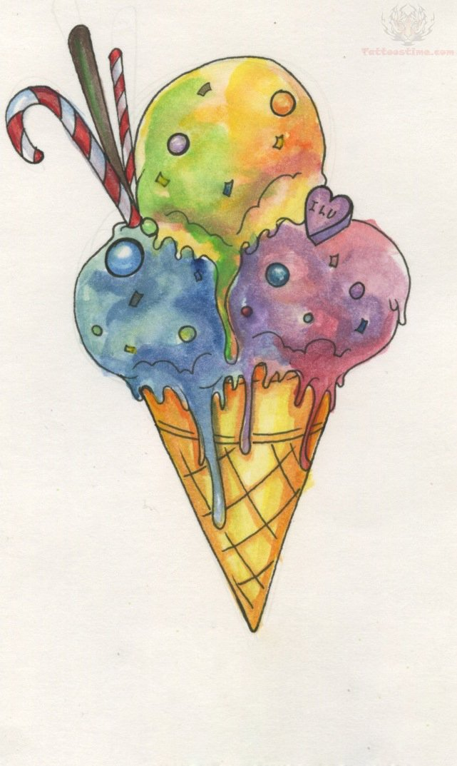 rainbow sorbet ice cream tattoo design. Black Bedroom Furniture Sets. Home Design Ideas
