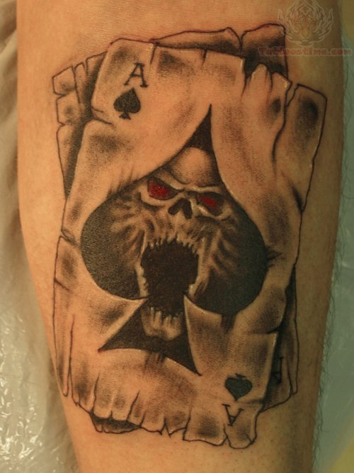 Ace skull card tattoo for Card tattoo designs