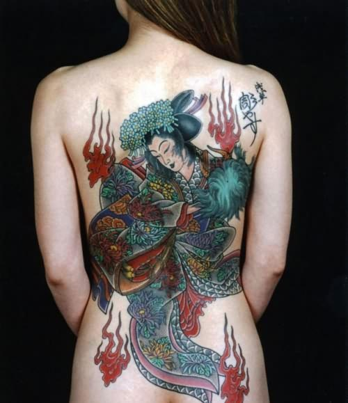 Chinese Colourfull Dragon Tattoo On Back