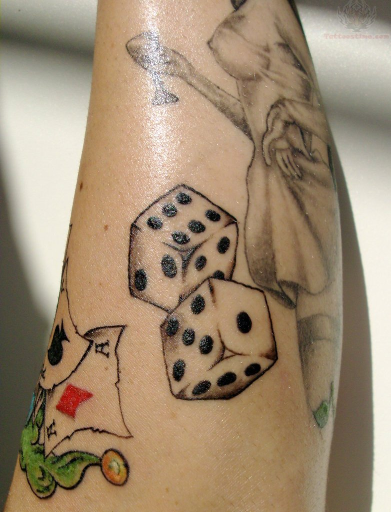grey ink dice tattoos