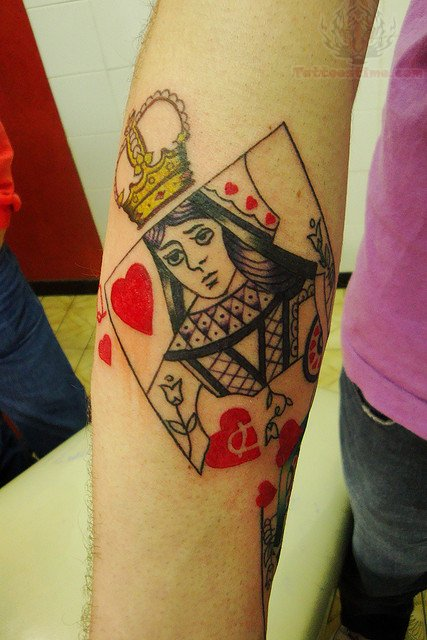 queen poker card tattoo. Black Bedroom Furniture Sets. Home Design Ideas