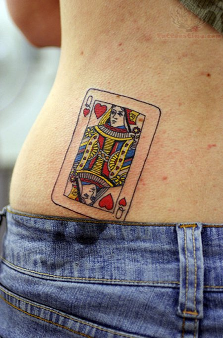 Queen Poker Tattoo for Hot Girls Hip