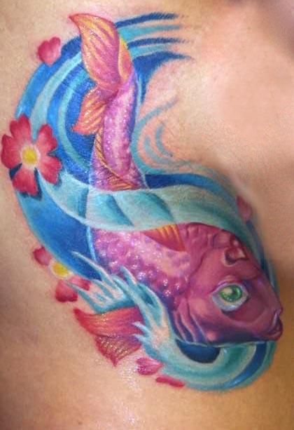 Samll koi fish tattoo for Pink koi fish