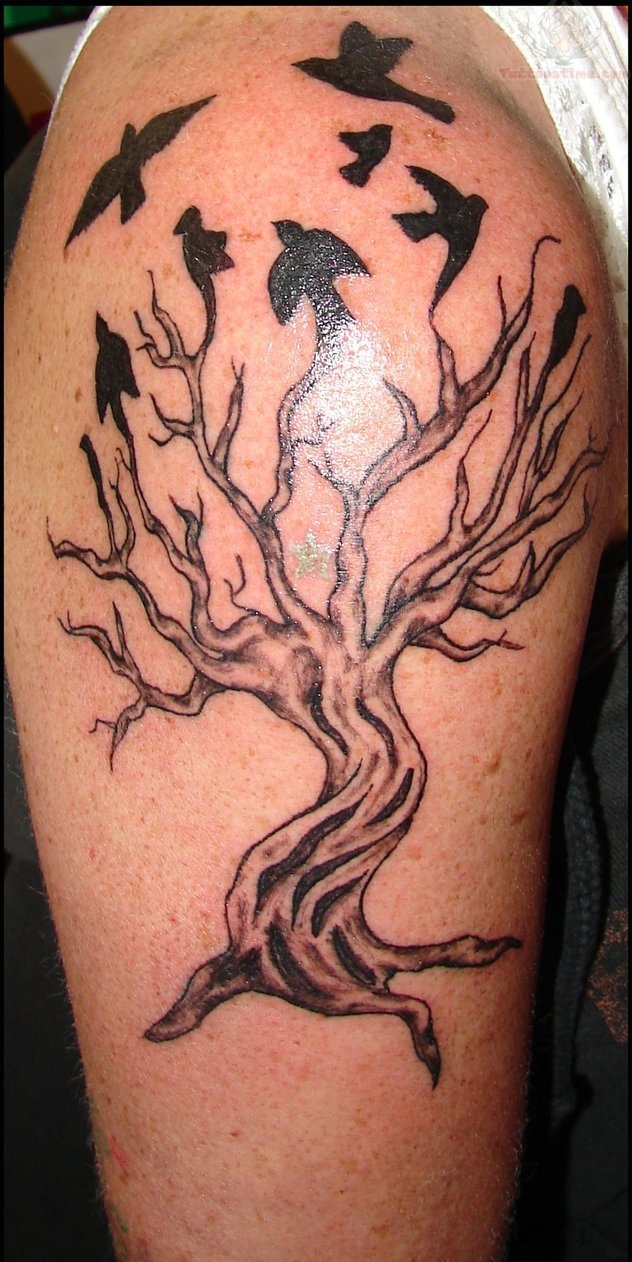 Crow tree tattoo
