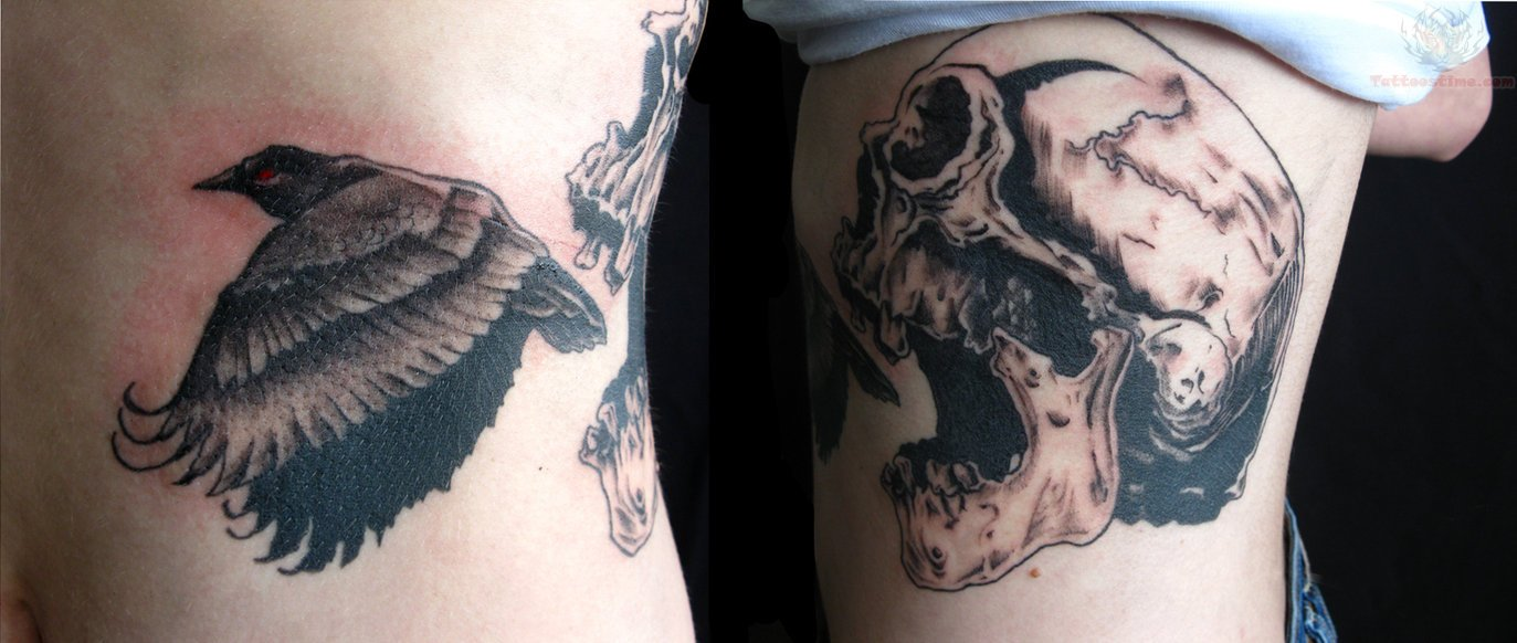 Crow Flying From Skull Tattoo On Leg