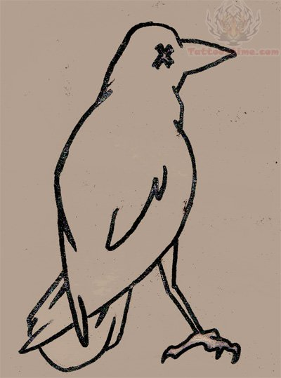 Crow Outline Tattoo Design