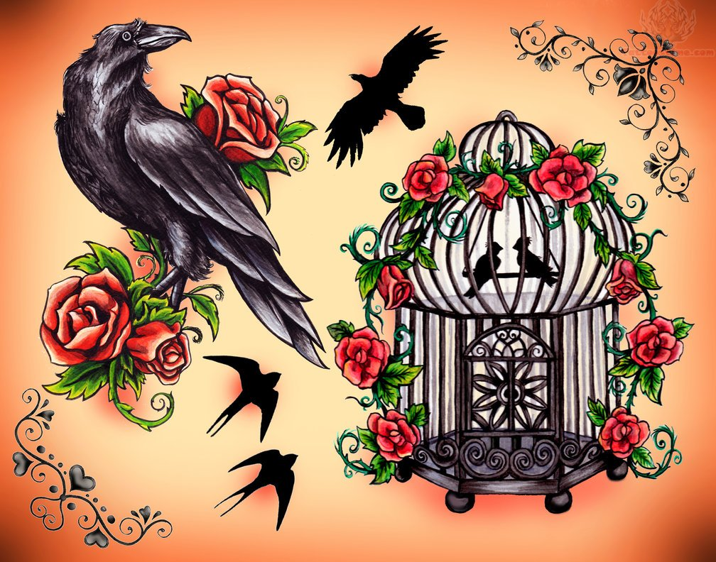 crow and cage tattoo design. Black Bedroom Furniture Sets. Home Design Ideas