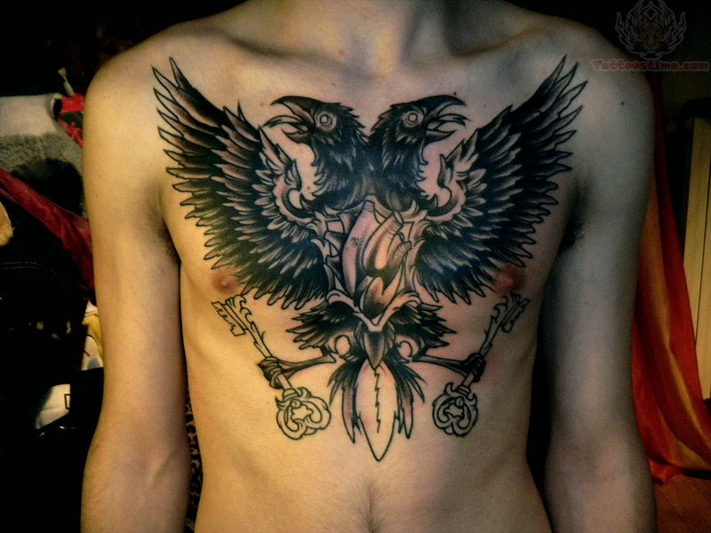 Crows And Keys Tattoos On Chest