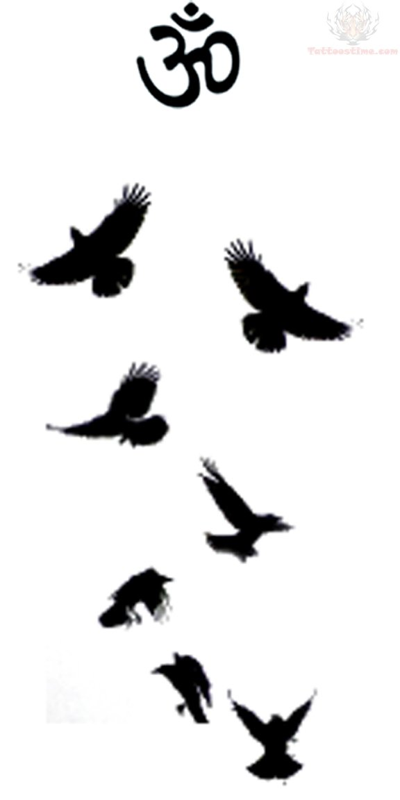 Flying Crows Religious Tattoo Design