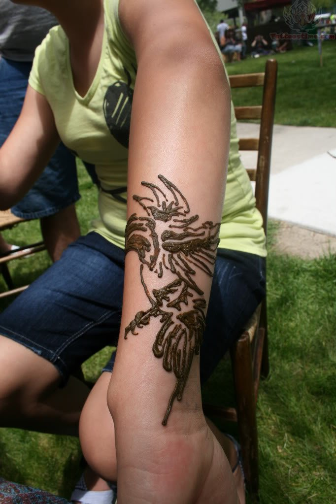 Henna Crow Tattoo On Arm