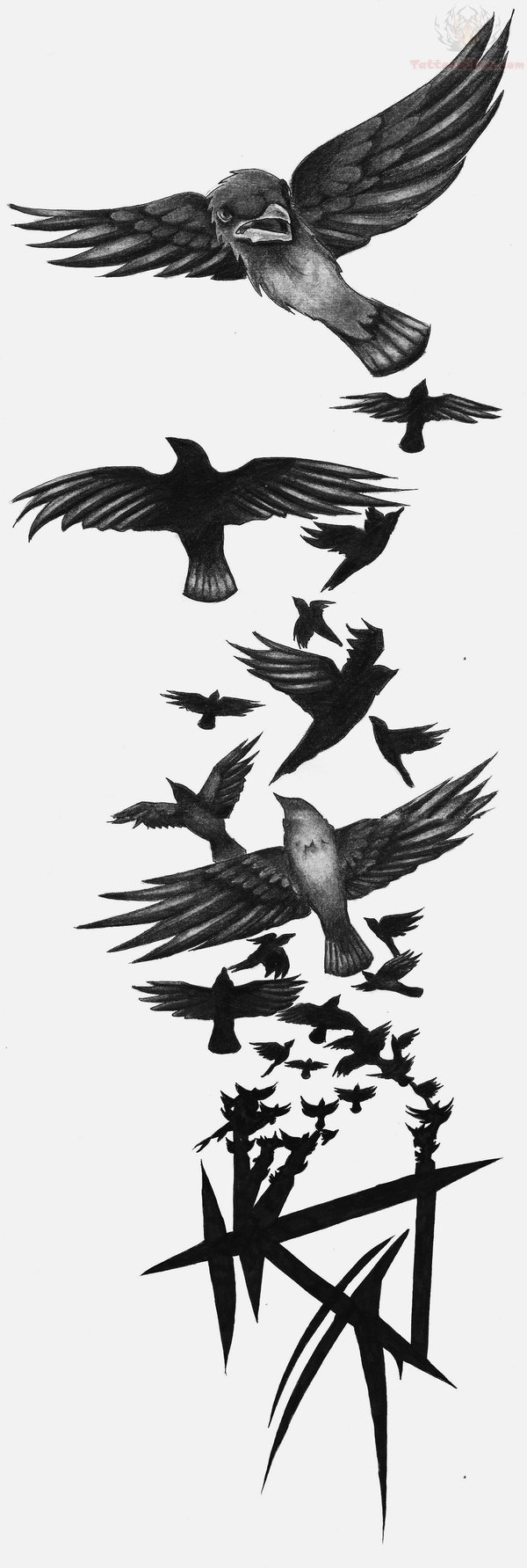Ravens and A Crow Tattoo Design