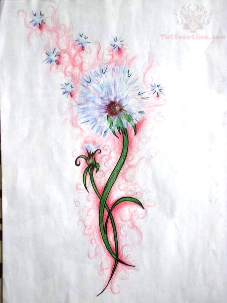 Dandelion Color  Tattoo Design