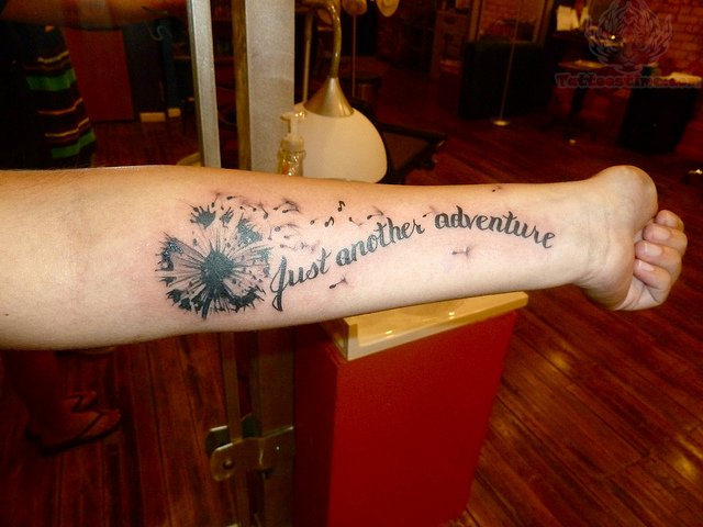 Just another adventure dandelion tattoo for Adventure is out there tattoo