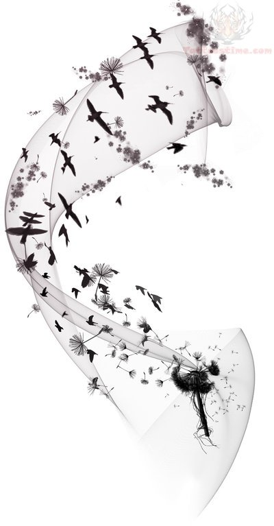 beautiful dandelion tattoo design. Black Bedroom Furniture Sets. Home Design Ideas