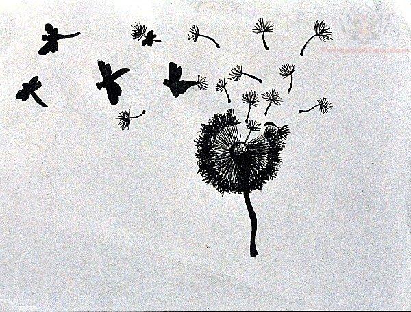 dandelion birds tattoo design. Black Bedroom Furniture Sets. Home Design Ideas