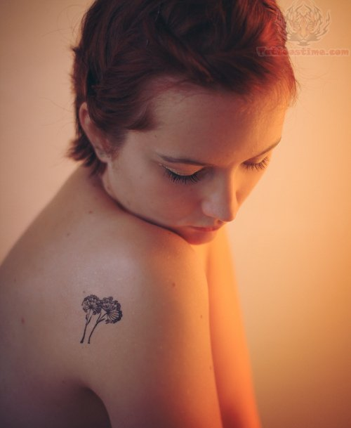 Dandelion tattoo images designs for Small shoulder tattoo