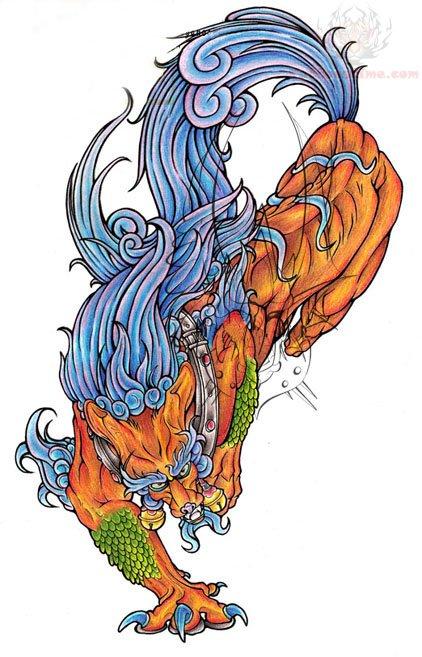 Amazing Foo Dog Tattoo Design
