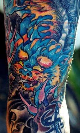 colored foo dog japanese tattoo