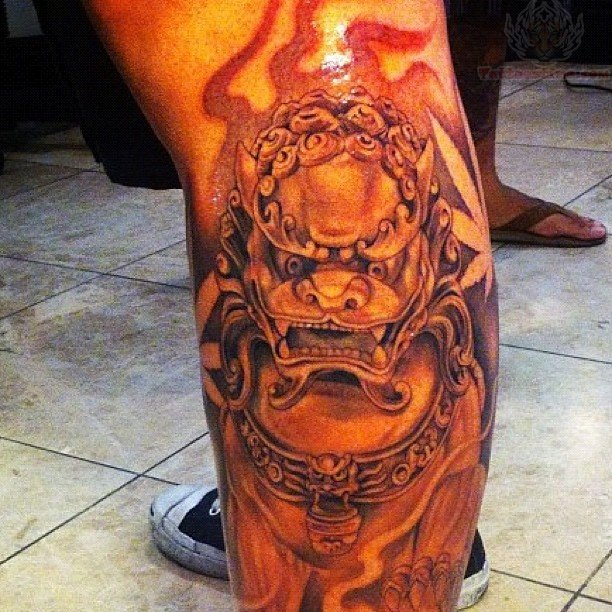 Fire Foo Dog Tattoo On Leg